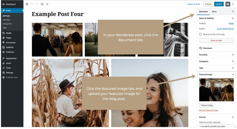 In your WordPress post, click the documents tab. Then click the featured image tab and upload your featured image for your blog post.
